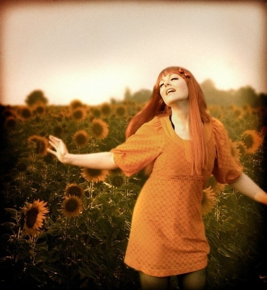 Hippy Girl Sunflower Field 60s