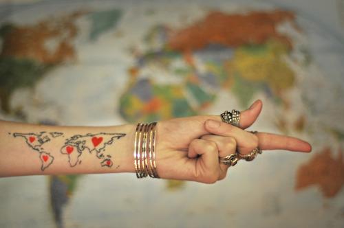 world map tattoo foot. Beautiful World Map Tattoo by