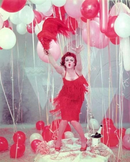 Celebration Balloons Party Redhead Flapper 50s