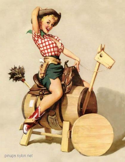 elvgren sitting pretty 1953 pin up cowgirl