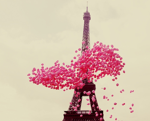 Eiffel Tower Paris Pink Balloons