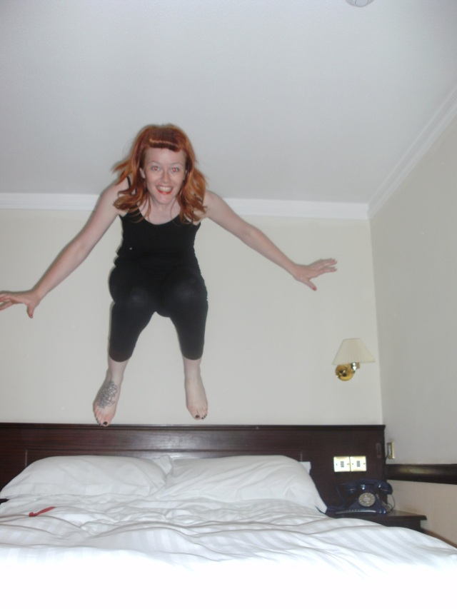 Jumping on Bed Girl Redhead Emma Rose Black