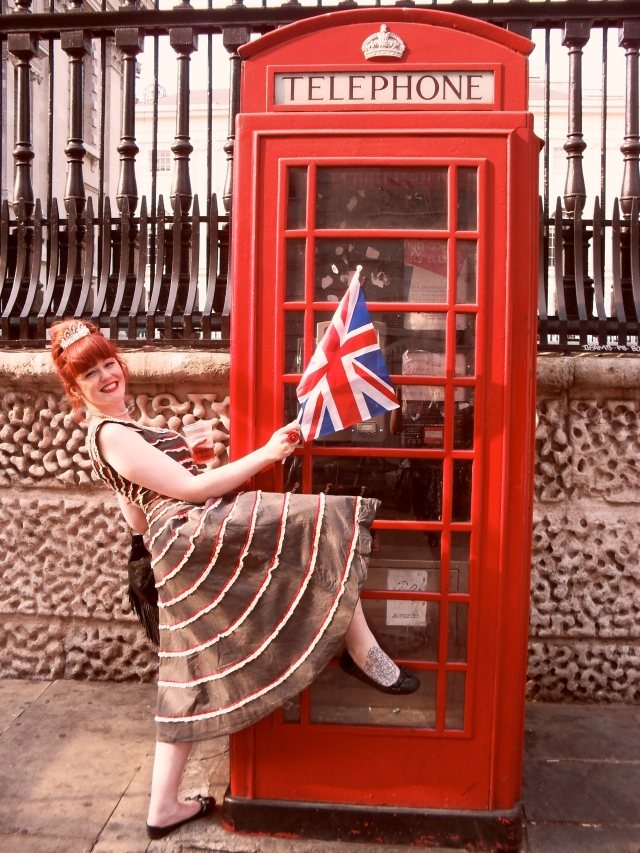 Red Phonebox Vintage Dress Tiara Royal Wedding London