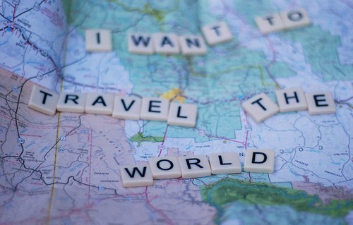 Scrabble I Want To Travel The World Map