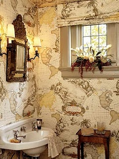 small-bathroom-decorating-ideas-map-wallpaper
