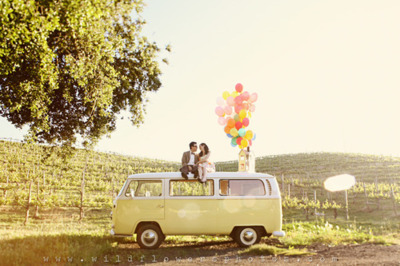 Couple Campervan Balloons Retro Cute