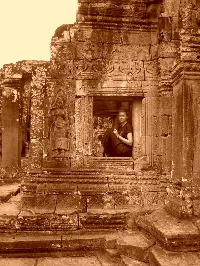 Contemplating at Angkor Wat. Cambodia