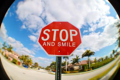 Stop Sign Smile Fisheye
