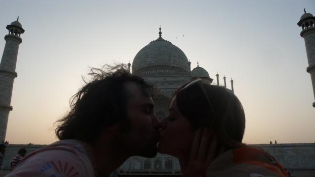 Kissing In Front of the Taj Mahal