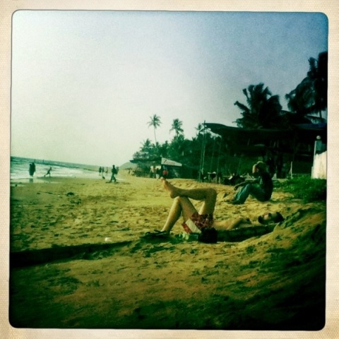 Sunbathing on the beach Goa Hipstamatic