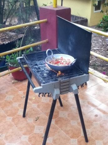 BBQing at Vanilla Guesthouse, Anjuna Goa