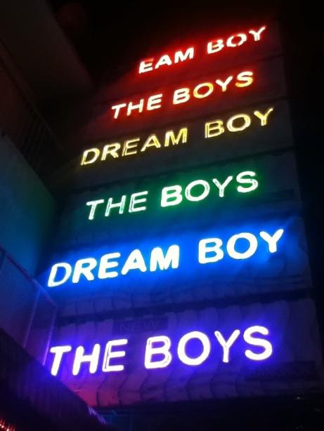 Neon signs outside gay bars in Bangkok