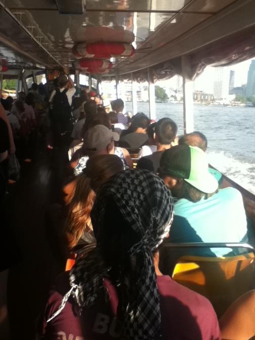 Getting the river boat in Bangkok