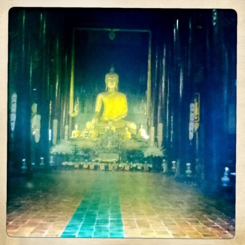 Gold buddha in Chiang Mai Temple Hipstamatic