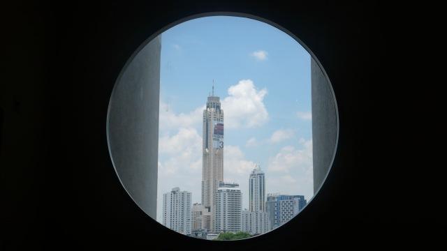 City views of Bangkok in a circle frame