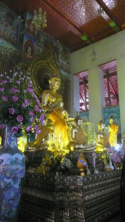 Gold Buddha and Decorations in temple Bangkok