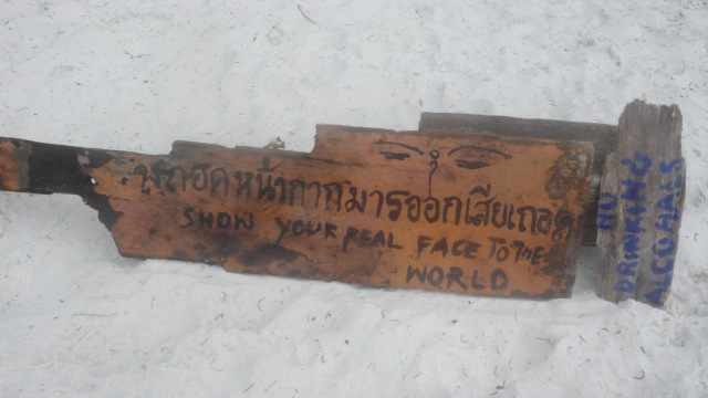 Show your real face to the world driftwood found on beach advice