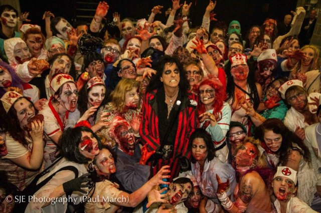 Alice Cooper with zombie hoard at Night of Fear Wembley 2012