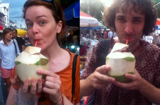 drinking fresh coconuts thailand