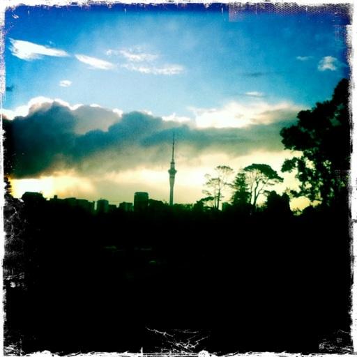 Auckland Hipstamatic Colourful Skyline Skytower