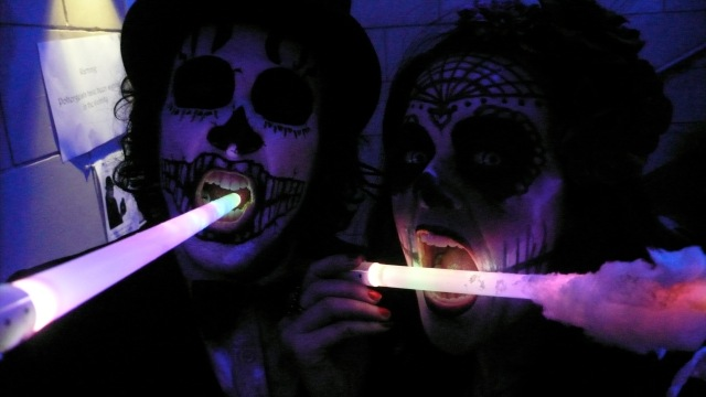 candy floss on glo-sticks White Mischief Phantasmagoria Halloween Ball