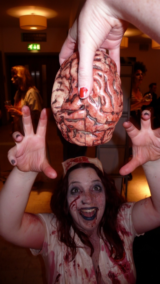 Dangling brains at zombies backstage at Alice Cooper's Halloween Night Of Fear Wembley 2012