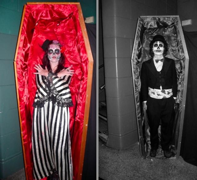 posing in a coffin at White Mischief Phantasmagoria Halloween Ball