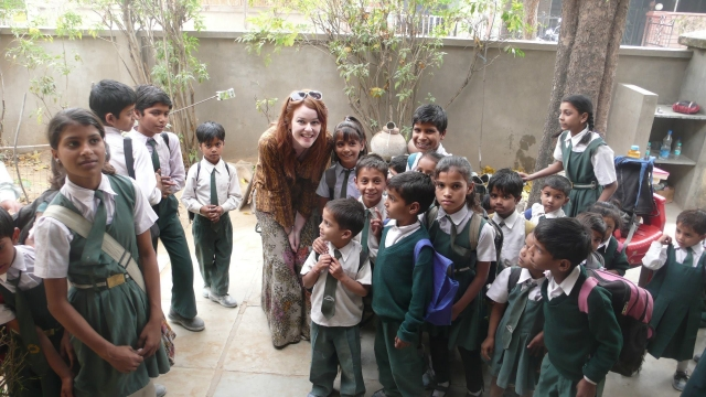 Me with children at Indian School In Jaipur