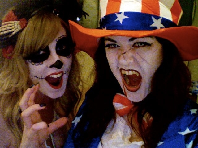 Fancy dress with friend uncle sam costume day of the dead