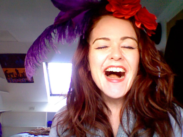 Blogging with flowers and feathers in my hair joy