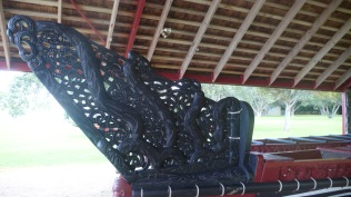 Wooden Decorative Carving On Moari Canoe