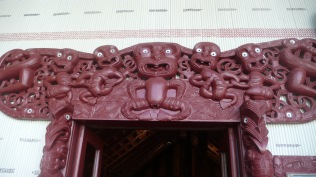 Beautiful doorway detail in Maori Meeting house