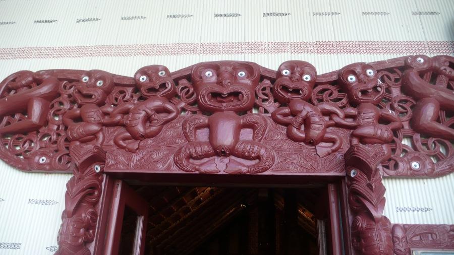 Beautiful doorway detail in Maori Meeting house