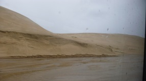 View from the bus 90 mile beach NZ sand-dunes